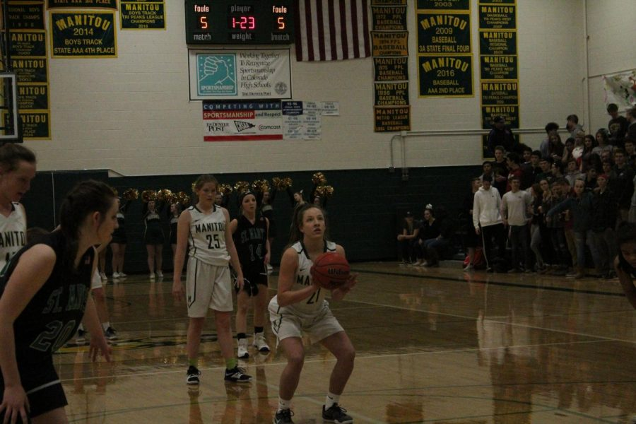 Aniah Olsen (10) shoots a free throw. Olsen has been part of the varsity team during both of her years in high school.