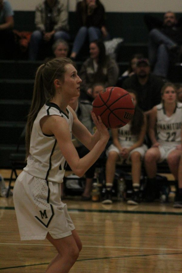 Haleigh Foster (12) lines up her shot for a free throw after being fouled by a Vanguard player. The Mustangs played the Coursers on February 6th and got a big win of 61-40. In this game, Maren Mildestvedt almost broke the scoring record with 32 points.