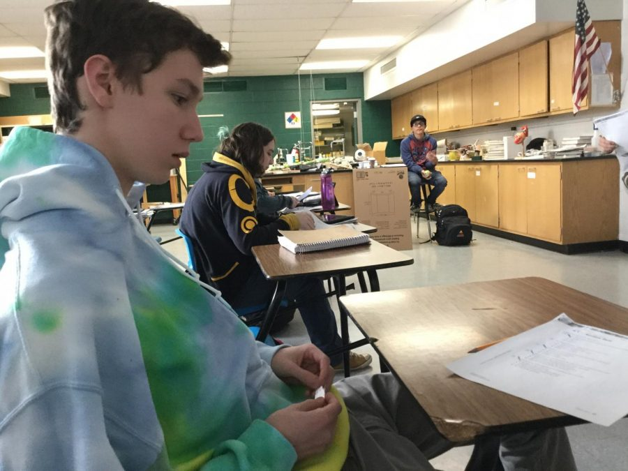 Reece Mininger is paying attention during Biology. He wants to be a doctor when he grows up as his career.