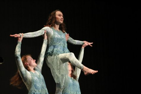 Alison Lanning (12) enjoys her last time on stage for Manitou Springs High School. She is looking forward to going to college and starting fresh.