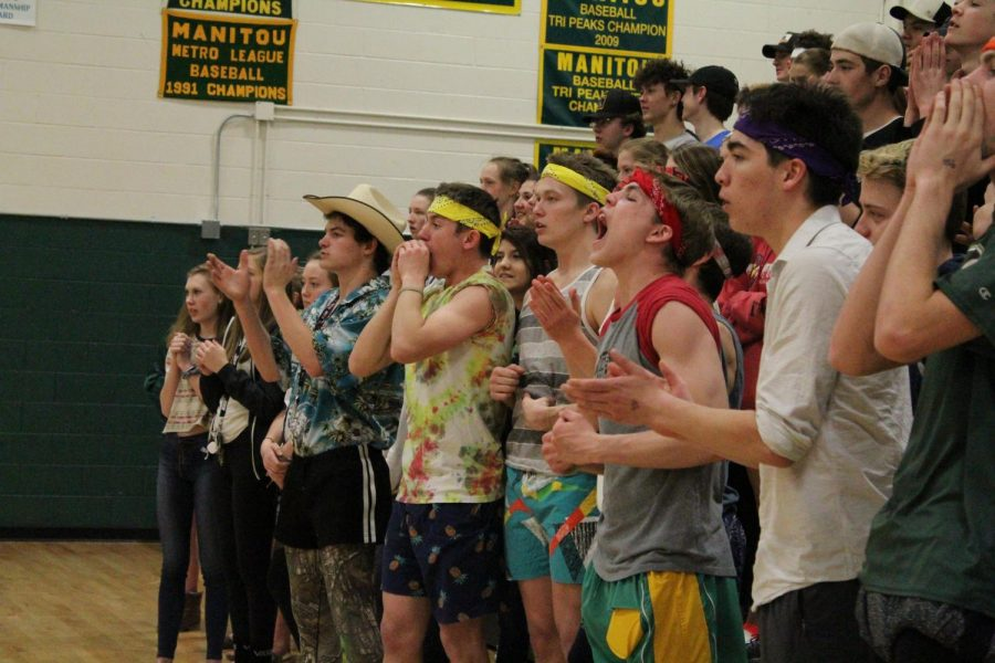 Students Jayden Omi (11), Byrd McCarley (11), Cole Sienknecht (12), Jace Gwyn (12), and Hunter Zentz (11), cheer loudly from the stands during the Staff vs. Staff basketball game. The boys took on the role of pumping up the crowd and making their cheers heard above the opposing student section.
