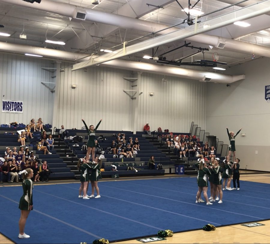 The MSHS Cheerleading team compete at Leages, and win first in the COED division.