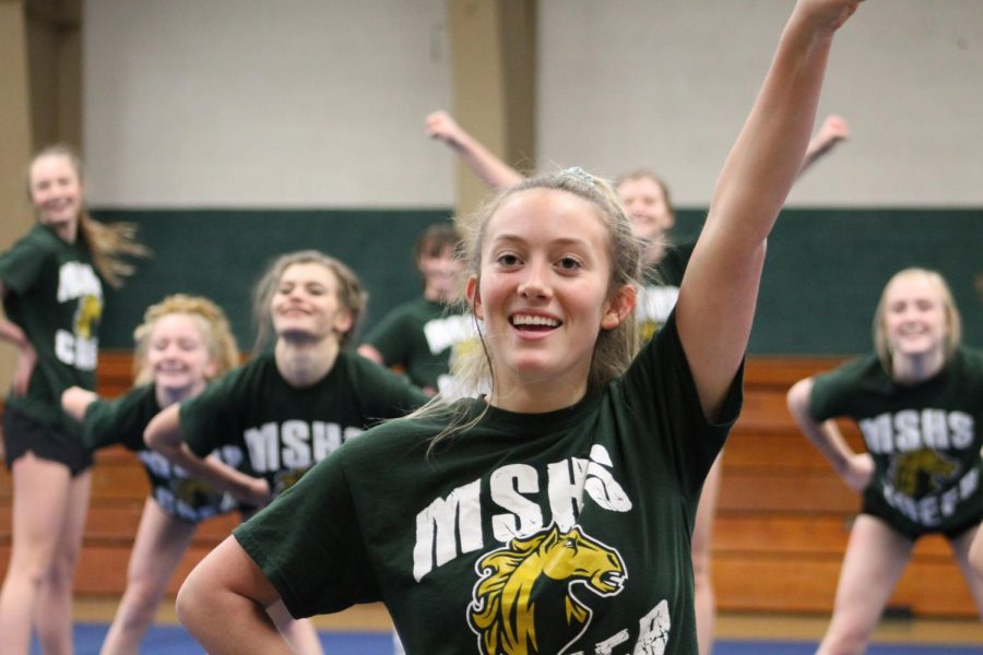 Ella Slater (11) has been on the cheer team for three years, and this year went to compete at State with the team.