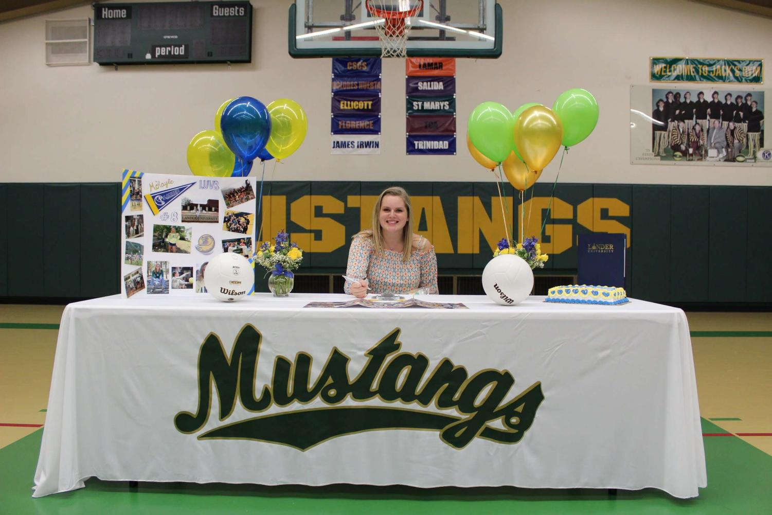 McKayla Cully (12) signs for Lander University in South Carolina.