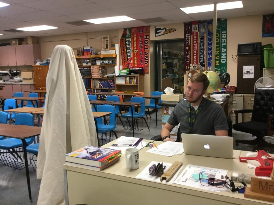 Zachary+Brown+is+not+amused+by+the+%22ghost%22+haunting+his+classroom.+