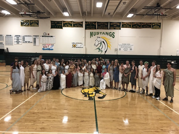 Seniors wear togas for one of the Homecoming dress up days in October. Seniors will have another session of dress up days for their final week of high school from May 6-10.