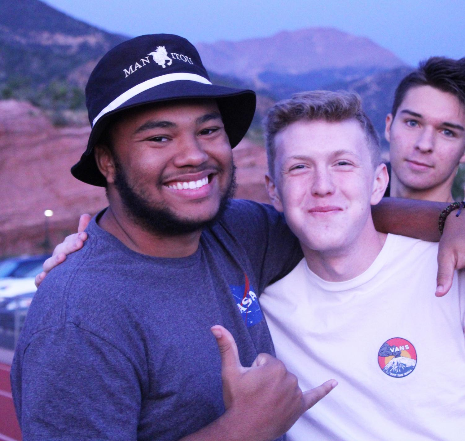 Dominick+Pearson+%2812%29+poses+for+a+photo+with+his+friend+Zak+Talbot+%2812%29+as+S%C3%A9amus+Lowe+%2812%29+photobombs+at+Senior+Sunrise.+Pearson+is+thrilled+for+his+senior+year.