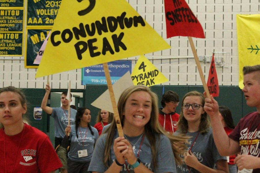 Taylor Foky (12) and other StuCo members hold family group signs so students can easily find the group they were assigned to. Each family group was named after a 14,000-foot peak in Colorado.