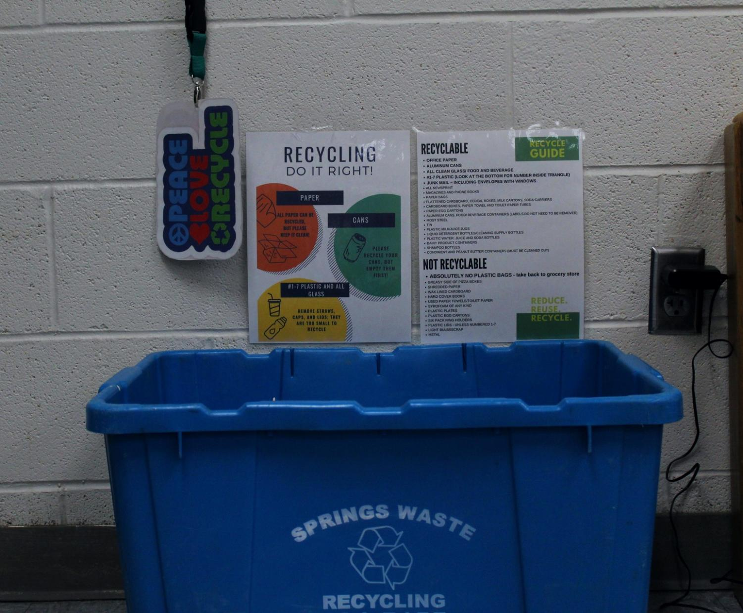 The new recycling bins are equipped with infographics to inform students and staff about how to properly recycle. They also have passes for the students who volunteer to collect recycling.