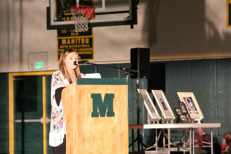 Mrs. King recites a poem she wrote about her sister, Lauren. After King's poem, a video was shown to celebrate Lauren's life.