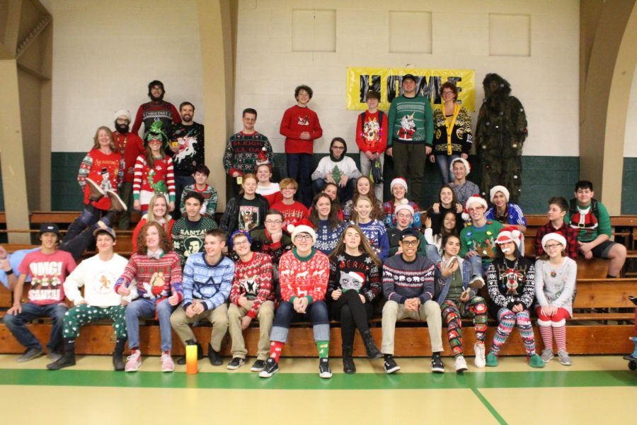 Students+and+teachers+decked+the+halls+with+their+festive+ugly+sweaters%2C+hats+and+more+on+Friday.