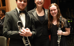 Boulder Honor Band members Devin Rocha (11) and Hailey Matas (12) at their concert in Boulder.