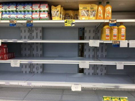 People stock up on juices and milk due to the fear of quarantine from COVID-19.