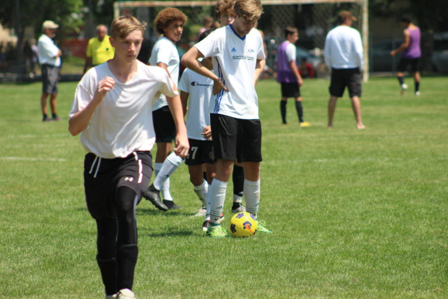 Accomplished soccer players Anton Akse (12) and Evan Yount (10) participate in an after school soccer practice. The team had great success last year.
