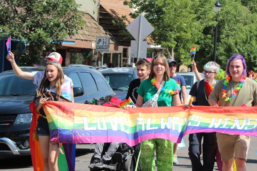 The Gay Straight Trans Alliance marches in the 2021 Homecoming parade on Manitou Avenue. The goal of MSHS is to have a club for everyone.