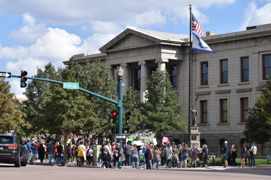 Outside City Hall after the march, protesters all walked through the town of Colorado Springs to reach this location.