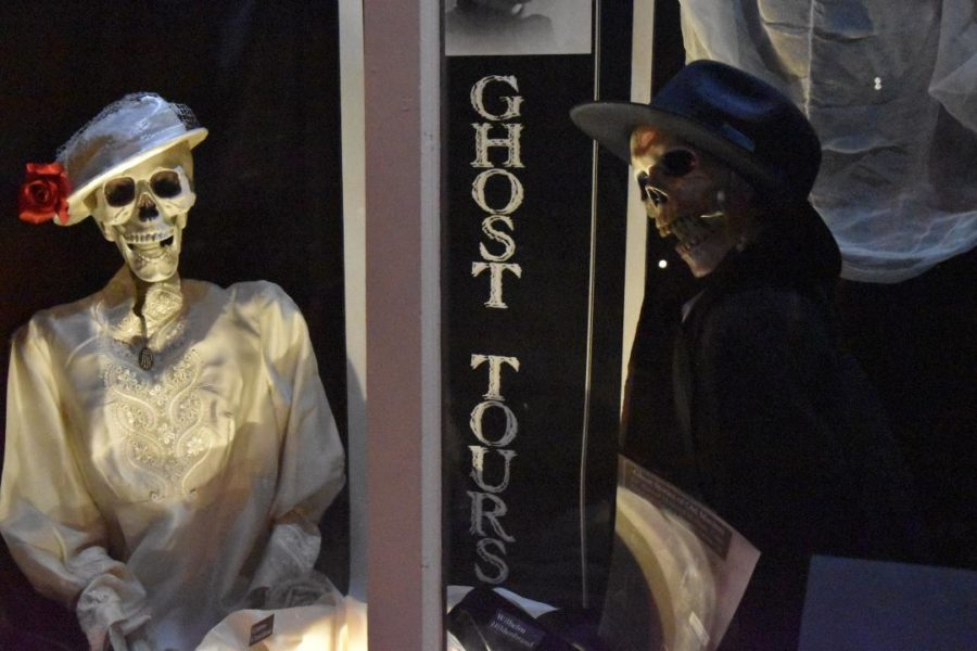 The Manitou Springs Heritage Center advertises Ghost Tours in its window display.  The Ghost Tours are a popular event in Manitou Springs.