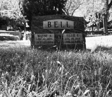 Headstone of Wayne A. Bell (1909-1974), and Billie E. Bill (1906-1985), at the Crystal Valley Cemetery in Manitou Springs, CO.