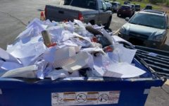 The full recycling bin in the MSHS parking lot after Thursday recycling.